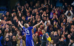 LONDON, ENGLAND - Wednesday, December 10, 2014: Chelsea's Andre Schurrle celebrates scoring the second goal against Sporting Clube de Portugal during the final UEFA Champions League Group G match at Stamford Bridge. (Pic by David Rawcliffe/Propaganda)
