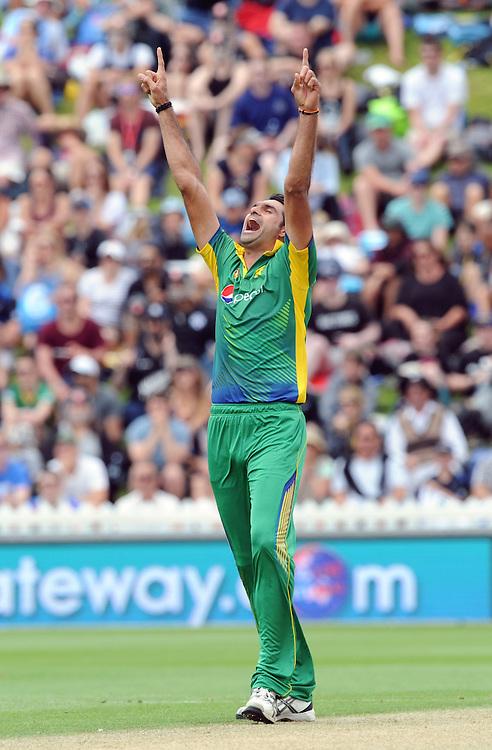 Pakistan's Mohammad Irfan celebrates after dismissing New Zealand's Martin Guptill for 11 in the 1st ODI International Cricket match at Basin Reserve, Wellington, New Zealand, Monday, January 25, 2016. Credit:SNPA / Ross Setford