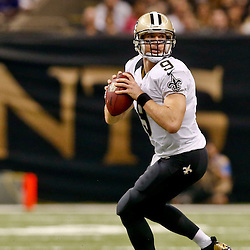 Sep 21, 2014; New Orleans, LA, USA; New Orleans Saints quarterback Drew Brees (9) against the Minnesota Vikings during the first quarter of a game at Mercedes-Benz Superdome. Mandatory Credit: Derick E. Hingle-USA TODAY Sports