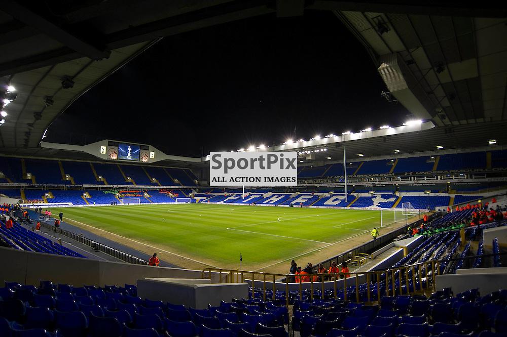 Setting the scene: Tottenhams White Hart Lane Stadium prepares for the Tottenham v Leciester City match in the Barclays Premier League on the 13th January 2016.