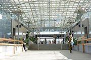 Israel, Tel Aviv, HaShalom train station the ceiling beams