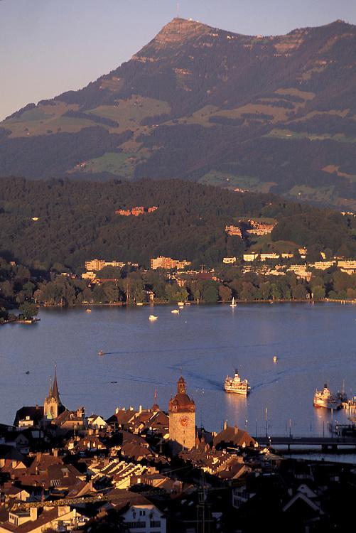 City of Lucerne, Vierwaldstaettersee, Lake Lucerne, Swiss Alps,Lucerne Canton, Switzerland