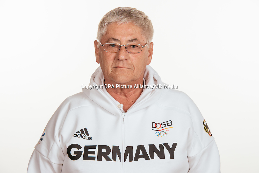 Werner Goldmann poses at a photocall during the preparations for the Olympic Games in Rio at the Emmich Cambrai Barracks in Hanover, Germany, taken on 15/07/16 | usage worldwide