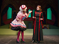 "Charles Baran as Sarah the Cook with Ursula Minich Boutwell as Queen Belladonna during dress rehearsal for Winnipesaukee Playhouse's traditional english panto ""Snow White"" on Tuesday afternoon.  (Karen Bobotas/for the Laconia Daily Sun)"