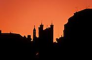 France. Lyon . On the summit of Fourviere hill, the basilica at sunset       au sommet de  la colline de Fourviere la basilique au coucher du soleil      R00063 3    L930812b     P0000190