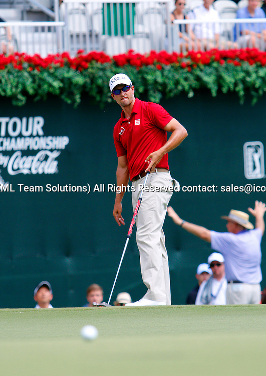 September 12, 2014:  Adam Scott on the 18th green during the second round of the FedEx Cup - The Tour Championship at East Lake Golf Club in Atlanta, Georgia.