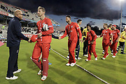 Lancashires Dane Vilas (Captain & Wicket Keeper) leads his winning team off the field during the Vitality T20 Blast North Group match between Lancashire Lightning and Birmingham Bears at the Emirates, Old Trafford, Manchester, United Kingdom on 10 August 2018.
