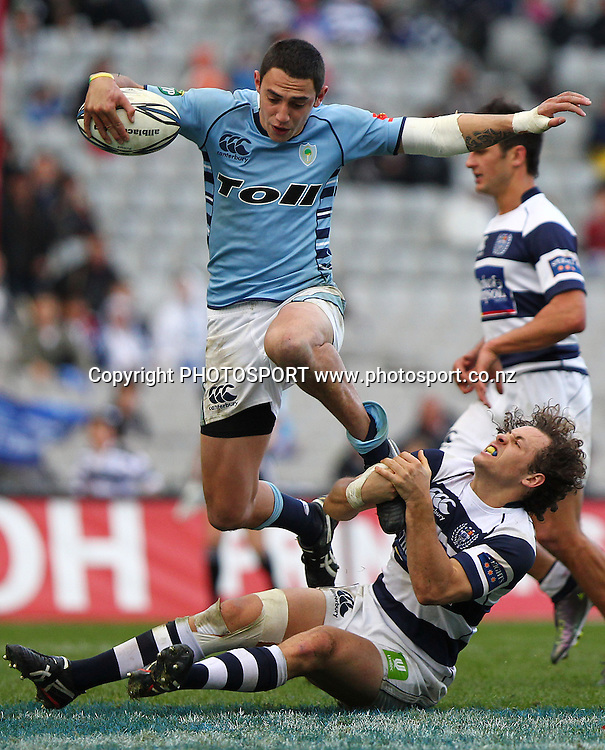 Northland' Bryce Heem jumps over Auckland's Dave Thomas. ITM Cup rugby union match, Auckland v Northland at Eden Park, Auckland, New Zealand. Sunday 22nd August 2010. Photo: Anthony Au-Yeung/PHOTOSPORT