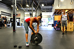 Instructor Melody Schofield works out during a session of Phoenix Multisports at Fearless Athletics, in South Philadelphia, on October 8, 2016. (Bastiaan Slabbers / for phillyvoice)