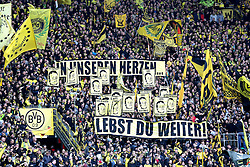 "15.02.2014, Signal Iduna Park, Dortmund, GER, 1. FBL, Borussia Dortmund vs Eintracht Frankfurt, 21. Runde, im Bild Fans von Borussia Dortmund gedenken einem Toten Kollegen ""In unseren Herzen lebst du weiter"" // during the German Bundesliga 21th round match between Borussia Dortmund and Eintracht Frankfurt at the Signal Iduna Park in Dortmund, Germany on 2014/02/15. EXPA Pictures © 2014, PhotoCredit: EXPA/ Eibner-Pressefoto/ Schueler<br /> <br /> *****ATTENTION - OUT of GER*****"