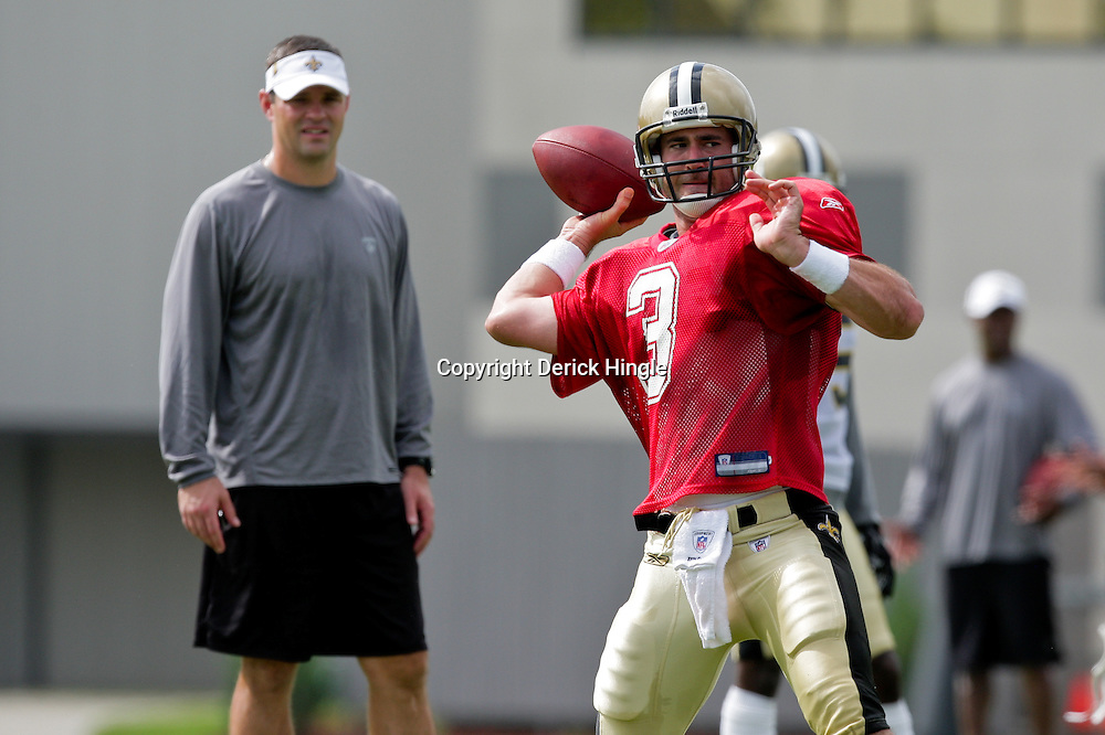 01 August 2009: New Orleans Saints quarterback Joey Harrington (3) looks to pass during New Orleans Saints training camp at the team's practice facility in Metairie, Louisiana.