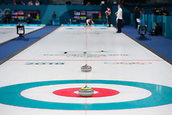 February 9, 2018 - Pyeongchang, SOUTH KOREA - 180209 Rocks placed out on the curling sheet for the mixed doubles curling match between South Korea and Norway during the 2018 Winter Olympics on February 9, 2018 in Pyeongchang..Photo: Joel Marklund / BILDBYRN / kod JM / 87609 (Credit Image: © Joel Marklund/Bildbyran via ZUMA Press)