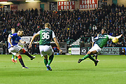 A shot at goal by Eros Grezda during the Ladbrokes Scottish Premiership match between Hibernian and Rangers at Easter Road, Edinburgh, Scotland on 19 December 2018.