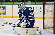 Jonathan Bernier makes a save during a game against the Rochester Americans in Rochester, New York, USA on Friday, December 4, 2015.