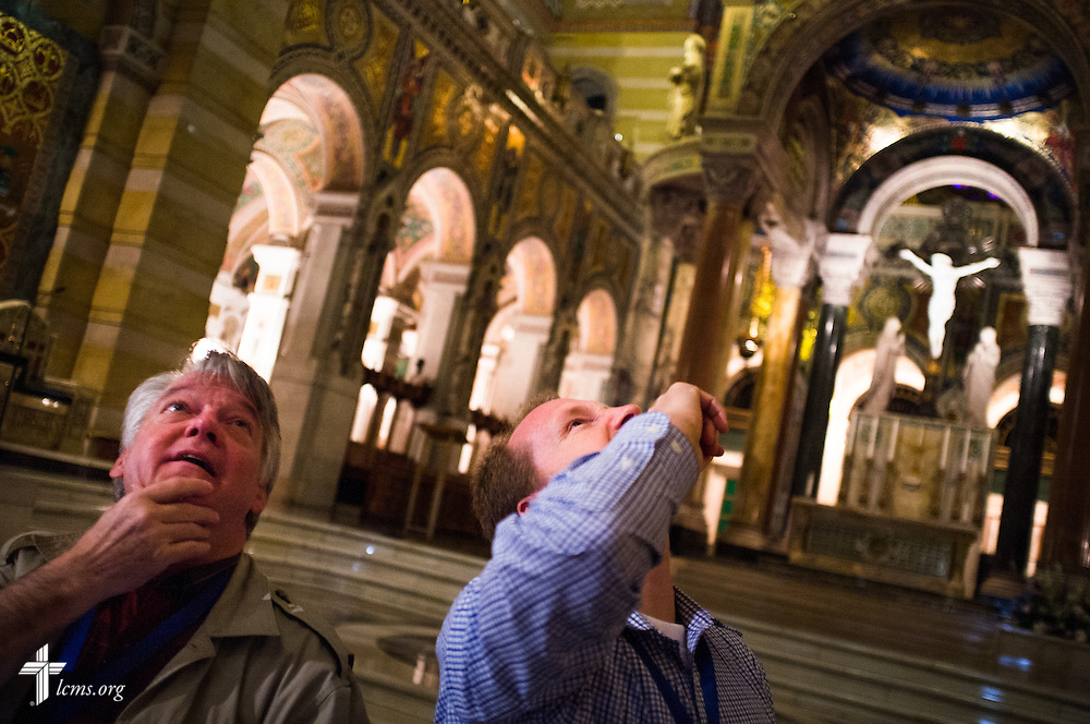 The Rev. Thomas Aadland (left), career missionary to Kenya, and the Rev. Mark Rabe, career missionary to Ethiopia, visit and tour the Cathedral Basilica of Saint Louis on Tuesday, June 30, 2015, in midtown St. Louis. LCMS Communications/Erik M. Lunsford