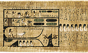 Book of the Dead on papyrus showing written hieroglyphs. Depiction of ploughing with oxen Bodmer Library, Geneva
