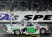 Kansas City Racing Photographer- Ross Chastain celebrates winning a NASCAR Truck Series auto race at Kansas Speedway in Kansas City, Kan., Friday, May 10, 2019. (AP Photo/Colin E. Braley)