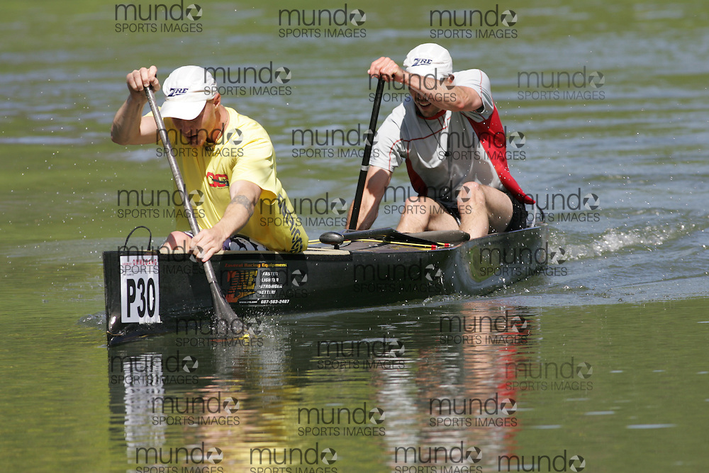 (Cooperstown to Bainsbridge, NY---26 May 2008) The 2008 General Clinton Regatta for Canoes held on 70 miles of the Susquehana River between Cooperstown and Bainsbridge, New York. The boat pictured is P30 ANDY TRIEBOLD, STEVE LAJOIE