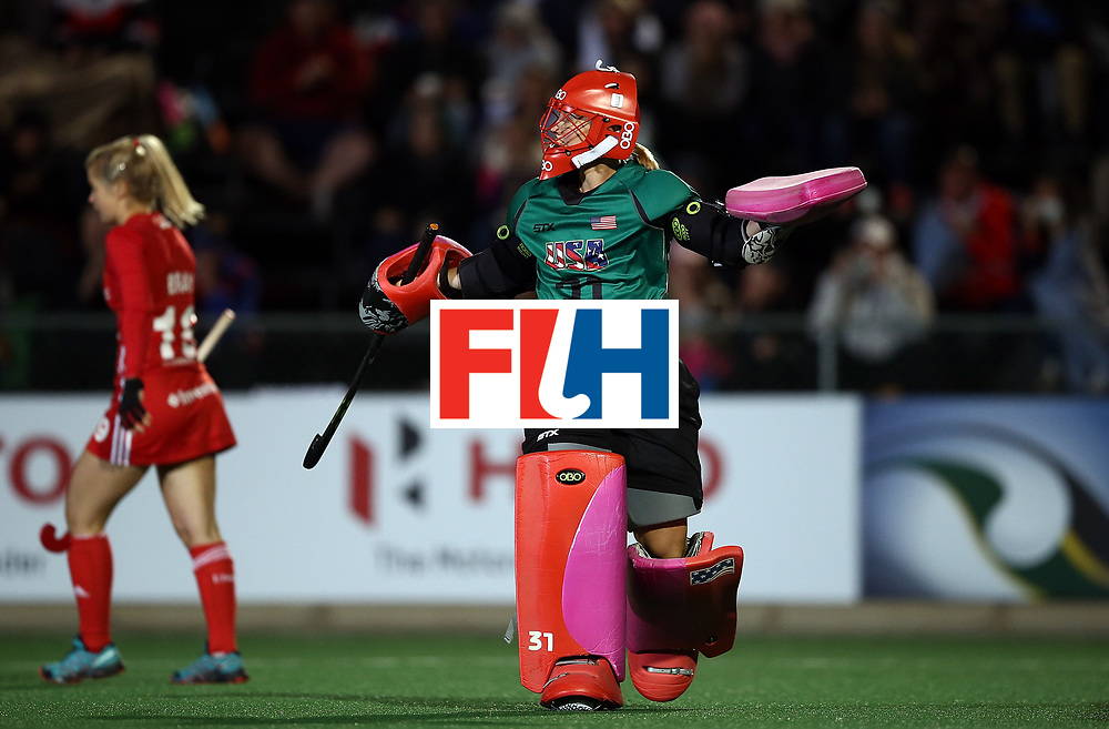 JOHANNESBURG, SOUTH AFRICA - JULY 20:  Jackie Briggs, goalkeeper of United States of America celebrates as she saves a shot from Sophie Bray of England in the penalty shoot out during day 7 of the FIH Hockey World League Women's Semi Finals semi final match between England and United Staes of America at Wits University on July 20, 2017 in Johannesburg, South Africa.  (Photo by Jan Kruger/Getty Images for FIH)