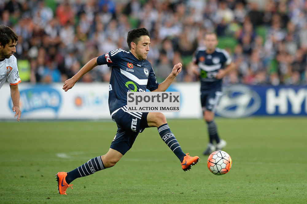 Stefan Nigro  of Melbourne Victory - Hyundai A-League, January 15th 2016, RD15 match between Melbourne Victory FC v Brisbane Roar  FC in a 4:0 win to Victory in a comfortable win over Roar at Aami Park,  Melbourne, Australia. © Mark Avellino | SportPix.org.uk