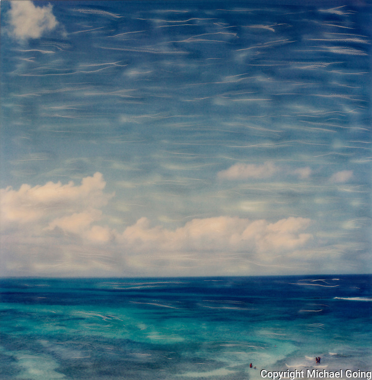 Abstract of ocean and clouds in Cancun, Mexico