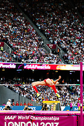 London, August 12 2017 . Ruth Beitia, Spain, the women's high jump final on day nine of the IAAF London 2017 world Championships at the London Stadium. © Paul Davey.