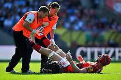 Peter Browne (London Welsh) receives treatment for cramp - Photo mandatory by-line: Patrick Khachfe/JMP - Mobile: 07966 386802 06/09/2014 - SPORT - RUGBY UNION - Oxford - Kassam Stadium - London Welsh v Exeter Chiefs - Aviva Premiership