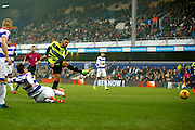 Huddersfield Town striker Nahki Wells (21) scores a goal (score 0 - 2) during the EFL Sky Bet Championship match between Queens Park Rangers and Huddersfield Town at the Loftus Road Stadium, London, England on 11 February 2017. Photo by Andy Walter.