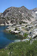 Lake shore and mountain in Sixty Lakes Basin, King's Canyon National Park