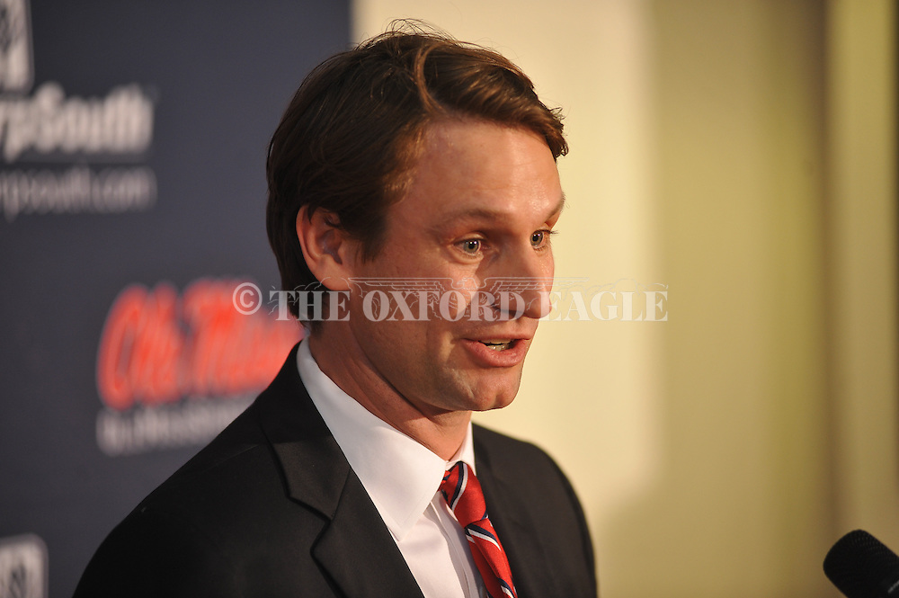 Ole Miss associate coach Toby Hansson speaks at the Starnes Center at Ole Miss, in Oxford, Miss., on Monday, January 13, 2014. Hansson will replace Billy Chadwick as tennis coach following the 2014 season.
