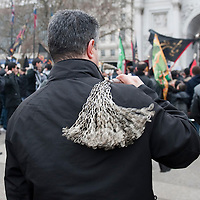 London February 7th  Shia Muslims take part in the Arbaeen Procession in Central London. The Arbaeen celebration  takes place 40 days after the Ashura in  remembrance of Imam Hussein sacrifice...***Agreed Fee's Apply To All Image Use***.Marco Secchi /Xianpix. tel +44 (0) 771 7298571. e-mail ms@msecchi.com .www.marcosecchi.com