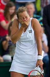 30.06.2014, All England Lawn Tennis Club, London, ENG, WTA Tour, Wimbledon, im Bild Barbora Zahlavova Strycova (CZE) celebrates after winning the Ladies' Singles 4th Round match 6-2, 7-5 on day seven // 15065000 during the Wimbledon Championships at the All England Lawn Tennis Club in London, Great Britain on 2014/06/30. EXPA Pictures © 2014, PhotoCredit: EXPA/ Propagandaphoto/ David Rawcliffe<br /> <br /> *****ATTENTION - OUT of ENG, GBR*****