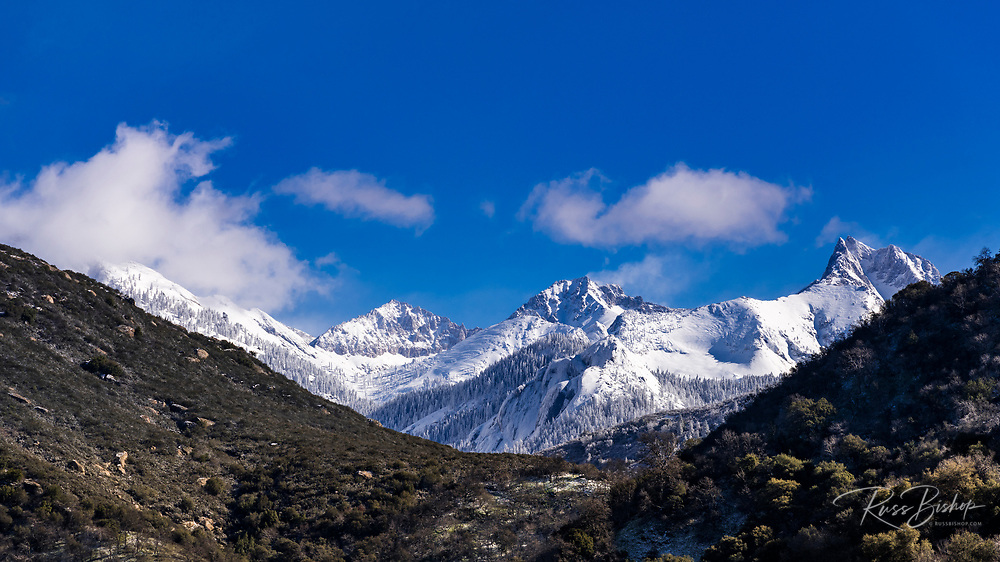The Sierra crest in winter from the Middle Fork of the Kaweah River, Sequoia National Park, California USA