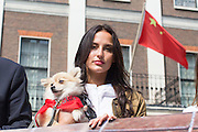 UNITED KINGDOM, London: 07 June 2016 Made in Chelsea star Lucy Watson shows her support outside the Chinese Embassy earlier today as they join other animal lovers to hand in a petition against China's Yulin dog meat festival. Rick Findler / Story Picture Agency