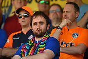 An Oldham fan wears his Rainbow scarf  during the EFL Sky Bet League 1 match between Northampton Town and Oldham Athletic at Sixfields Stadium, Northampton, England on 5 May 2018. Picture by Dennis Goodwin.