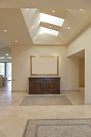 Foyer of home with skylight