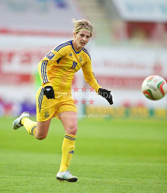 LLANELLI, WALES - Wednesday, April 9, 2014: Ukraine's Maryna Masalska in action against Wales during the FIFA Women's World Cup Canada 2015 Qualifying Group 6 match at Parc-y-Scarlets. (Pic by David Rawcliffe/Propaganda)