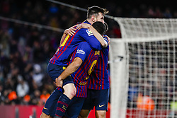 January 30, 2019 - Barcelona, Spain - FC Barcelona forward Lionel Messi (10) celebrates the goalwith FC Barcelona forward Luis Suarez (9) and FC Barcelona defender Jordi Alba (18) during the match FC Barcelona v Sevilla CF, for the round of 8, second leg of the Copa del Rey played at Camp Nou  on 30th January 2019 in Barcelona, Spain. (Credit Image: © Mikel Trigueros/NurPhoto via ZUMA Press)