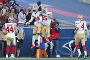 Dec 30, 2018; Los Angeles, CA, USA; San Francisco 49ers wide receiver Kendrick Bourne (84) celebrates with San Francisco 49ers tight end George Kittle (85) and teammates after scoring a touchdown at Los Angeles Memorial Coliseum. The Rams defeated the 49ers 48-31.  (Robin Alam/Image of Sport)