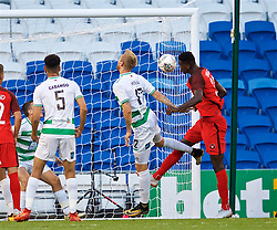 CARDIFF, WALES - Thursday, August 9, 2018: FC Midtjylland's Paul Onuachu scores the second goal during the UEFA Europa League Third Qualifying Round 1st Leg match between The New Saints FC and FC Midtjylland at Cardiff City Stadium. (Pic by David Rawcliffe/Propaganda)