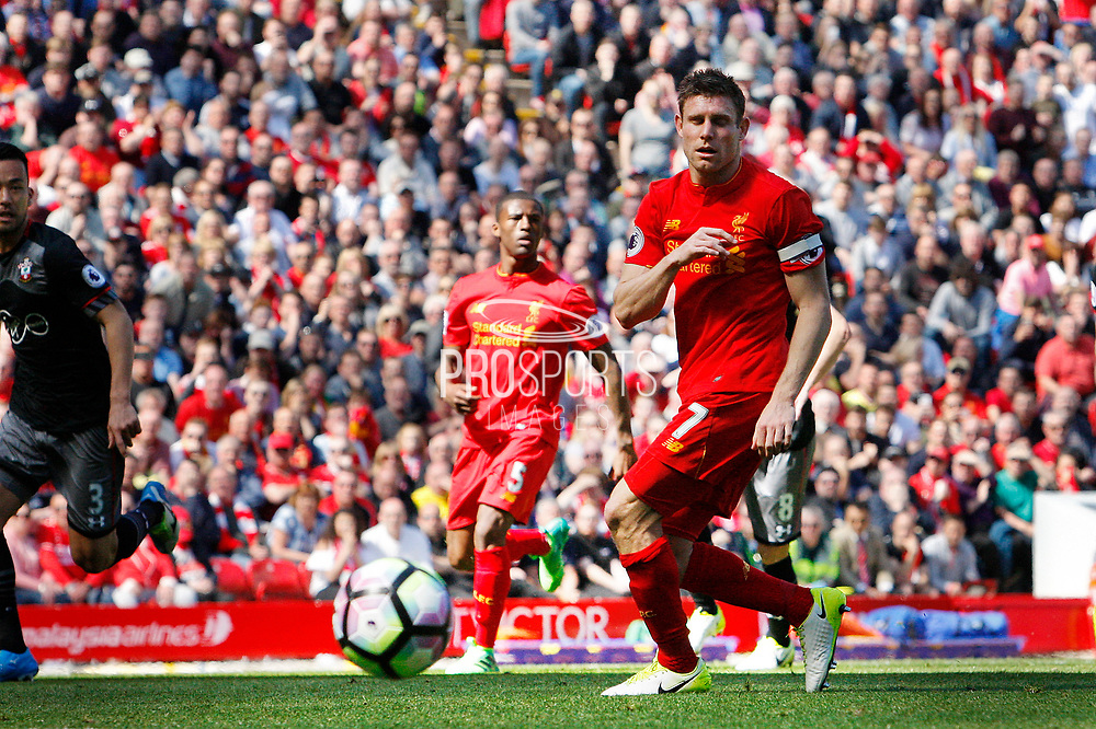 James Milner (7) of Liverpool looks on as the ball rebounds out from his penalty during the Premier League match between Liverpool and Southampton at Anfield, Liverpool, England on 7 May 2017. Photo by Craig Galloway.