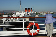 The RMS Queen Mary a retired ocean liner Now a hotel and restaurant, moored at the Long Beach harbour, California, USA