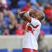 Jamison Olave, (right), New York Red Bulls, reacts after heading over the bar from close range during the New York Red Bulls Vs Chicago Fire, Major League Soccer regular season match won 5-4 by the Chicago Fire at Red Bull Arena, Harrison, New Jersey. USA. 10th May 2014. Photo Tim Clayton