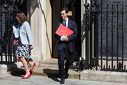London, UK. 23 July, 2019. Baroness Evans of Bowes Park, Leader of the House of Lords and Lord Privy Seal, and Rory Stewart MP, Secretary of State for International Development, leave 10 Downing Street following the final Cabinet meeting of Theresa May's Premiership. The name of the new Conservative Party Leader, and so the new Prime Minister, is to be announced at a special event afterwards.