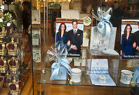 Royal Wedding souvenirs abound near Buckingham Palace before the marriage of Prince William and Kate Middleton, London, England.