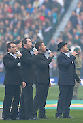 """Twickenham Great Britain.  Pre game entertainment. """"The High Kings"""" 2014 RBS Six Nations Rugby; England vs Ireland. Saturday  22/02/2014  [Mandatory Credit; Peter Spurrier/Intersport-images]"""