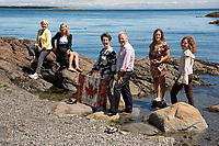 The team at Beattie Tartan Communications Group takes time out for group photos by the ocean in Victoria, BC.