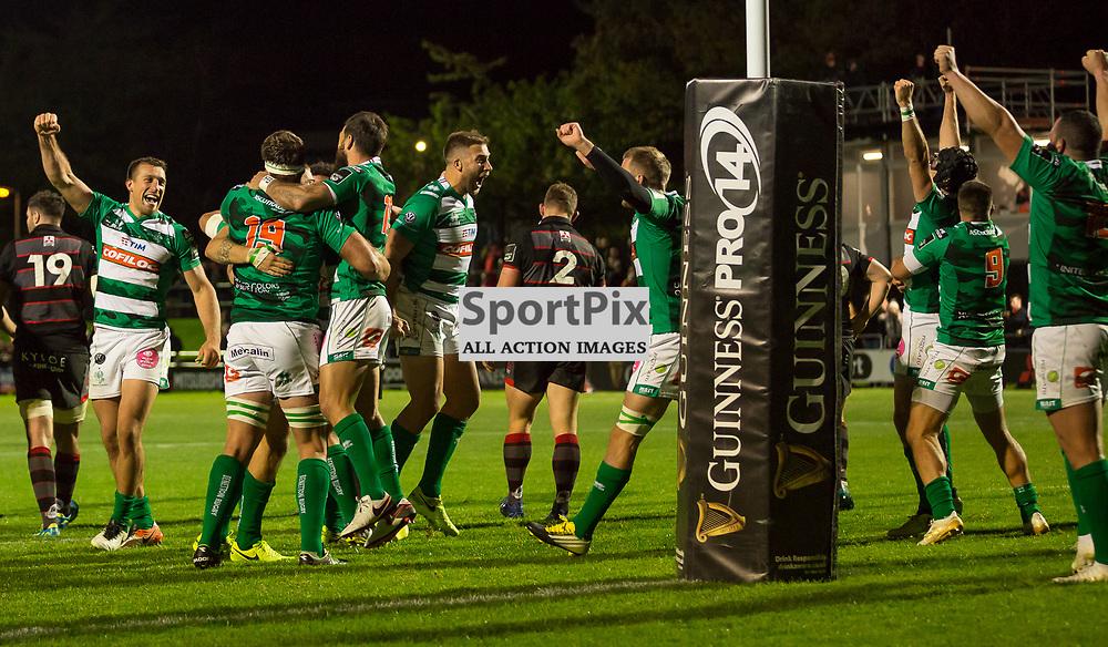 A jubilant Benetton team celebrate their shock win against Edinburgh at Myreside.  <br /> Edinburgh Rugby v Benetton , 15th September 2017.