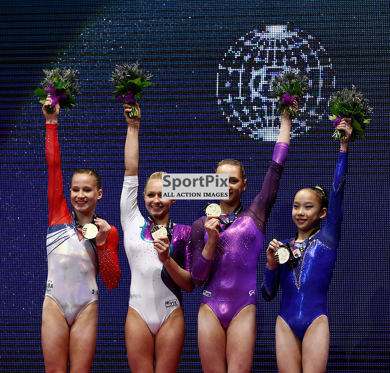 2015 Artistic Gymnastics World Championships being held in Glasgow from 23rd October to 1st November 2015..... Joint first place with gold medals in the Women's Uneven Batr competition Yilin Fan (Peoples Republic of China), Viktoriia Komova (Russia), Madison Kocian (USA) & Daria Spiridonova (Russia) Day 1 of the Women's & Men's Apparatus Final...(c) STEPHEN LAWSON | SportPix.org.uk