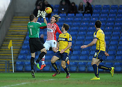 Oxford United's Ryan Clarke saves from Exeter City's Christian Ribeiro  - Photo mandatory by-line: Neil Brookman/JMP - Mobile: 07966 386802 - 24/01/2015 - SPORT - Football - Oxford - Kassam Stadium - Oxford United v Exeter City - Sky Bet League Two